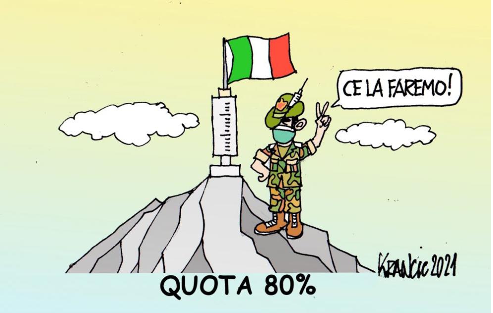 Continua la spinta del governo per la campagna vaccinale – La vignetta di AlfioKrancic