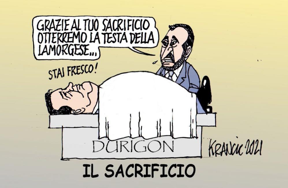 Dimissioni del sottosegretario all'economia Durigon – La vignetta di AlfioKrancic.